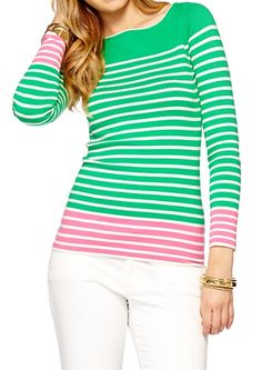 Lilly Pulitzer Maria Boatneck Striped Sweater.  Love the light green and pink combination.  #lilly
