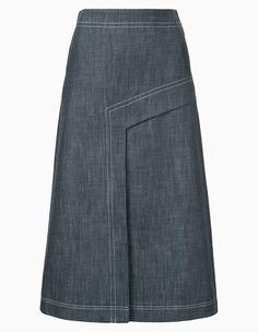 Tibi, 27968 рублей, farfetch.com, Длинные юбки из денима возвращаются в этом сезоне