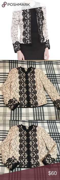 Neiman Marcus two tone lace Jacket size M Great condition  Shows minimal wear  From a pet and smoke free home Neiman Marcus Jackets & Coats Blazers