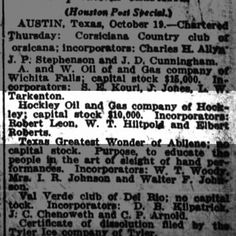 Hoxkley Oil and Gas Houston Post 20 Oct 1916 pg8
