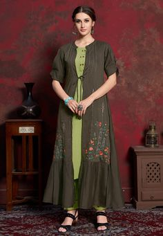 Largest selection of kurti from popular indian online shop. Grab gleaming cotton and rayon party wear kurti for festival. Kurti With Jacket, Angrakha Style, Indian Dresses Online, Party Wear Kurtis, Dark Grey Color, Embroidered Clothes, Sherwani, Kareena Kapoor, Western Dresses