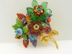 Vintage Signed Ian St. Gielar Stanley Hagler N.Y.C. Glass Bead Flower Brooch
