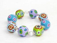 April bracelet, fimo, beads, millefiori Armband  Polymer Clay Fimoperlen millefiori von filigran-Design   auf DaWanda.com