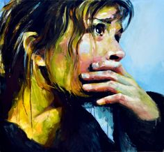 "London, UK artist Sal Jones Week 13. This is called ""This is hopeless."" She does look hopeless. I can almost see the tears welling up in her eyes. I don't like the yellow coloration but thats okay. This one really speaks to me. It makes me emotional. I like this piece."