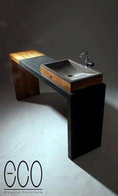 Concrete/wood bench