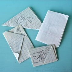I wrote and passed soooo many notes in school (especially high school). Loved all the different ways we came up with to fold them. #school #notes #writing #schooldays #retro #nostalgia #childhood #1980s #1990s :-)