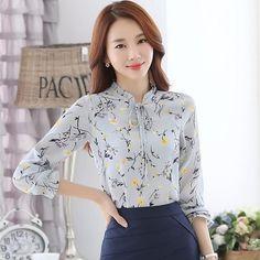 Women Chiffon Blouses 2017 Casual Elegant Print Floral Tunic OL Work Office Shirt Jumper Tops Blusas Vetement Femme Mujer 3XL