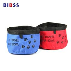 Foldable Oxford Travel Dog Bowl For Hiking / Camping / Hunting