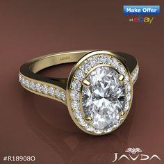 1.7 ct Halo Pre-Set Oval Diamond Engagement F VS2 GIA Unique Ring 14K White Gold.