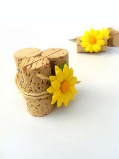 A unique fall wedding idea to use sunflowers, vintage wine corks & twine to decorate Place Card Holders.  Beautiful rustic wedding decor for a summer or fall wedding!  https://www.etsy.com/listing/177737332/rustic-sunflower-wedding-place-card