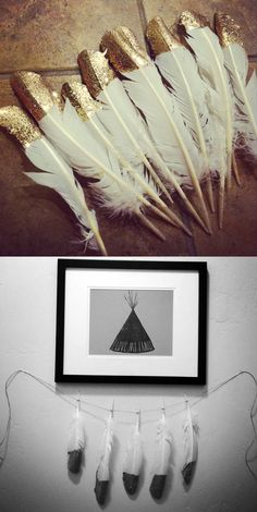 dipped feather - want! But would place them in a cute vase instead