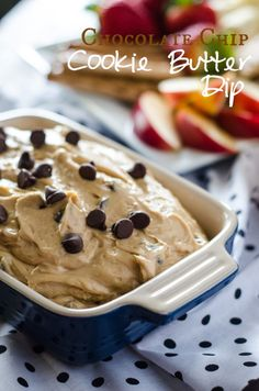 Chocolate Chip Cookie Butter Dip - Delicious cookie butter, fluffed up and ready for all your favorite dippers! | Get the recipe on MyCookingSpot.com!