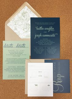 simple and modern navy and sage green wedding invite with kraft envelopes and floral liner