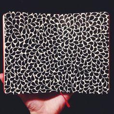 lauren-salgado:  More teardrops. Micron pens on a 3.5 x 5.5 red moleskine sketchbook.