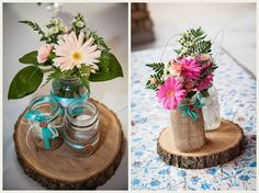 Simpe pretty rustic table centrepieces