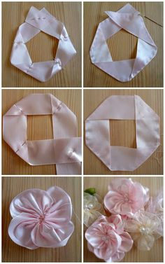 Wonderful Ribbon Embroidery Flowers by Hand Ideas. Enchanting Ribbon Embroidery Flowers by Hand Ideas. Ribbon Art, Diy Ribbon, Fabric Ribbon, Ribbon Crafts, Flower Crafts, Diy Crafts, Satin Ribbon Roses, Scrap Fabric, Satin Flowers