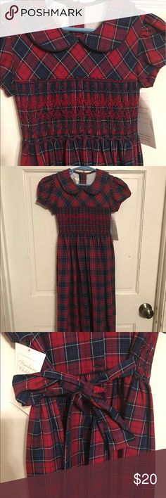 NWT Strasburg plaid Hand Smocked dress, size 7 NWT Strasburg red plaid dress with Peter Pan collar, smocking around the waist & ties in the back. A perfect dress for fall and/or Christmas pictures.   Size 7 with no alternations done. My girls just outgrew it before they could wear it. Strasburg Dresses