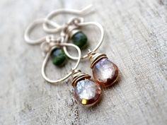 Topaz Earrings With Vesuvianite in 14K Gold Filled