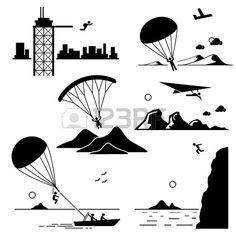 Extreme Sports - Base Jumping, Parachuting, Paragliding, Hang Gliding, Parasailing, Cliff Jump - Stick Figure Pictogram Icons Cliparts photo