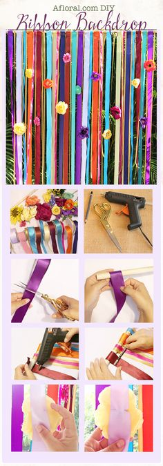 DIY Ribbon Backdrop for Weddings and Events.  This DIY is so fun, easy, and affordable to make!  Choose your favorite, colorful faux flowers and ribbons for your design, and follow this simple DIY tutorial for a wonderful wedding backdrop!  Perfect for your wedding photo booth or behind the dessert table at your bridal shower.
