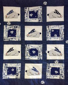 Quilt made of Yakata fabric at the Blue and White shop in Tokyo.