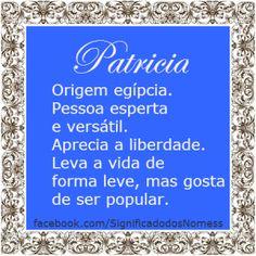 Significado do nome Patricia   Significado dos Nomes