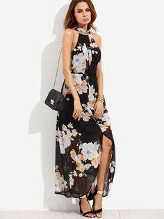 Black Flower Print Halter Neck Slit Chiffon Dress -SheIn(Sheinside)