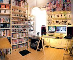 Otaku Room/ i want it My New Room, My Room, Deco Gamer, Kawaii Bedroom, Geek Room, Cute Room Ideas, Room Goals, Room Setup, Aesthetic Rooms