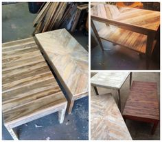 These are some of the coffee tables and sofa tables I have built totally out of reclaimed lumber from pallets. Some of them I paint and some I leave natural to show the beauty, color and texture in the raw wood. I've started a Facebook page, Southern Renewal Furniture, to show off and sell my tables…