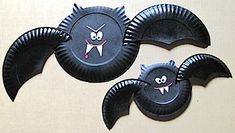 Paper Plate Vampire Bat - Halloween Decorations on the cheap!