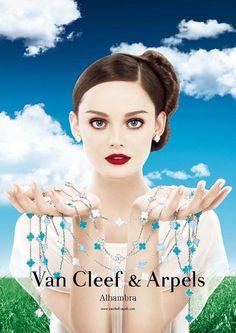 Van Cleef & Arpels  ..# photography, women, fashion, beautiful, jewellery, brunet, red lips, accessories
