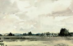 Edward Wesson, R.I., R.B.A., R.S.M.A. (1910 — 1983, UK)  The marshes near Acle, Norfolk. watercolour. 12¾ x 19½ in. (32.4 x 49.5 cm.)