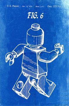 Lego Patent Blueprint Art of a Lego Figure Man by BigBlueCanoe