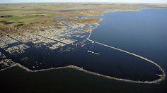 Los contornos todavía inundados por el Lago Epecuén