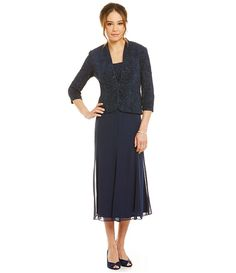 Navy:Alex Evenings Jacquard T-Length Jacket Dress