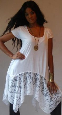 WHITE BLOUSE TOP LACE ASYM - FITS (ONE SIZE) - L 1X 2X - B553 LOTUSTRADERS LOTUSTRADERS. $42.99