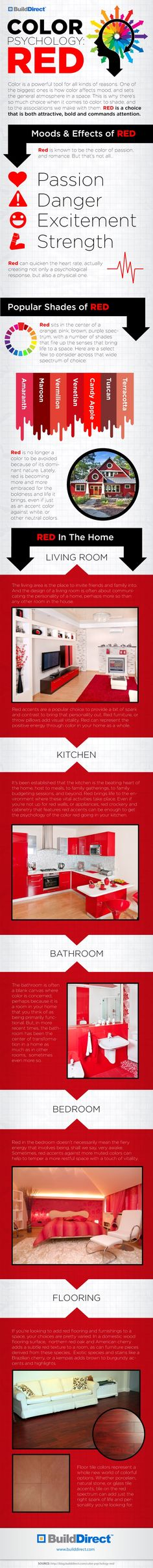 Color is an extremely powerful tool when it comes to home design. How do you feel about incorporating RED into your home design after looking at this infographic?