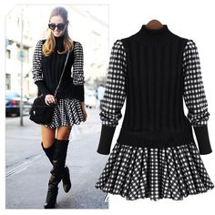 New fall & winter fashion! Stylish sweater dress with checkered pattern featuring a pleated design.