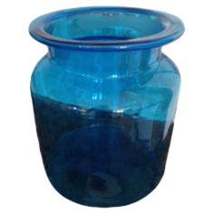 Blue glass round container #huntersalley