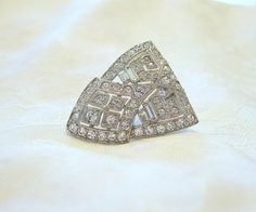 Vintage Art Deco Dress Clip Rhinestone Crystal by VintageStreet