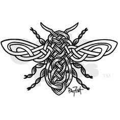 Celtic Knotwork Bee - black li Sticker (Rectangle)