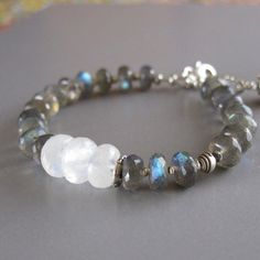 Labradorite Rainbow Moonstone Bracelet Sterling Fine Silver Spectrolite Bead DJStrang Boho Cottage Chic Color Flashing Stone by DJStrang on Etsy https://www.etsy.com/listing/150465916/labradorite-rainbow-moonstone-bracelet