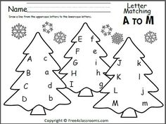 Free Tree Letter Matching A to M.  Great winter and Christmas worksheet for preschool and Kindergarten.