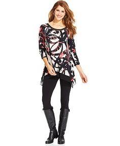 Alfani Angel-Sleeve Mixed-Media Tunic - Tops - Women - Macy's