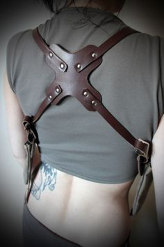 Unisex Shoulder Holster  - Leather with Vintage Canvas Pockets - Steampunk - Burning Man - Festivals. $65.31, via Etsy.