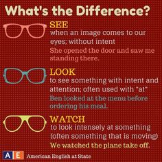 see, look, watch, what's the difference