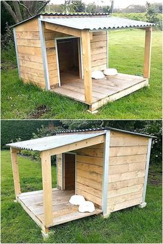 Dog house with porch, wood dog house, porch house plans, pallet dog house Pallet Dog House, Build A Dog House, Large Dog House Plans, Wooden Dog House, Dog House With Porch, House Dog, Diy Outside Dog House, Le Plus Grand Chien, Grande Niche