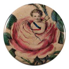 John Derian Company Inc — Moss Rose Cupid - Pin Button or Mirror Button