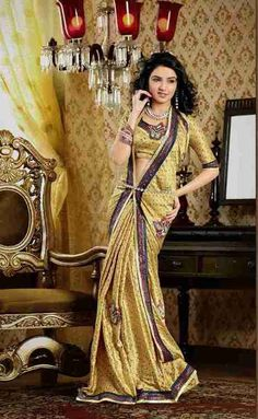 Darpana Golden Faux Crepe Luxury Party Wear Sari saree