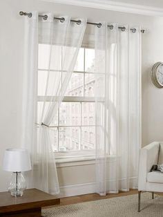 Hamilton McBride Glamour Metallic Voile Curtains (Pair) | very.co.uk